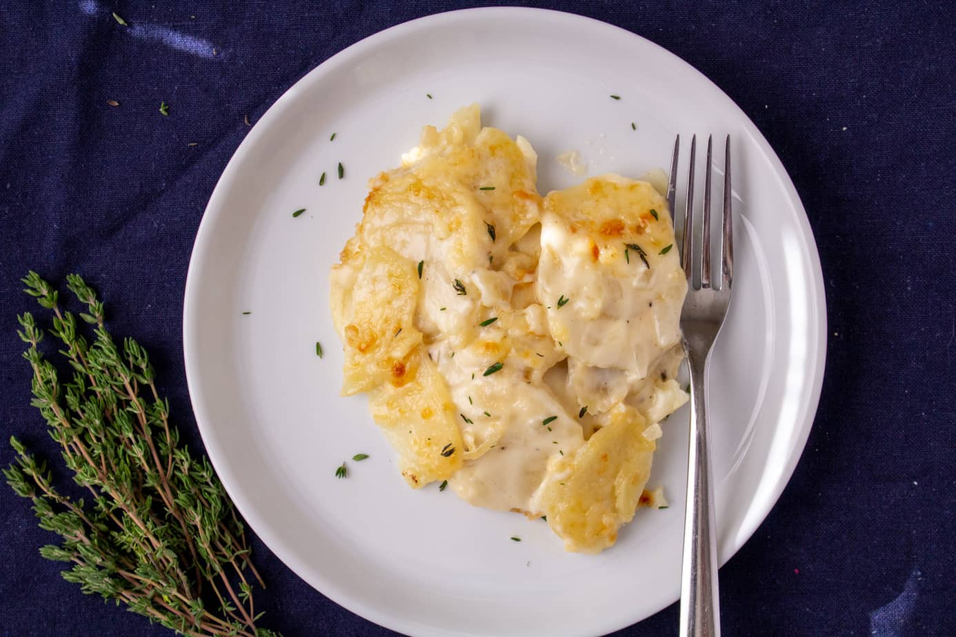 creamy potatoes on a white plate with a fork