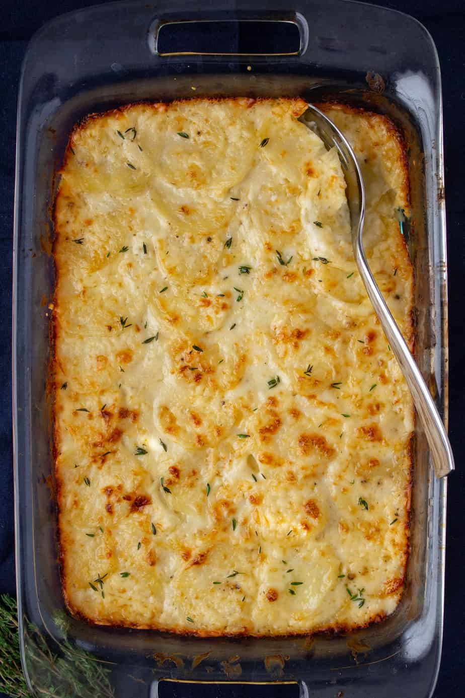 au gratin potatoes in a casserole dish on a dark background