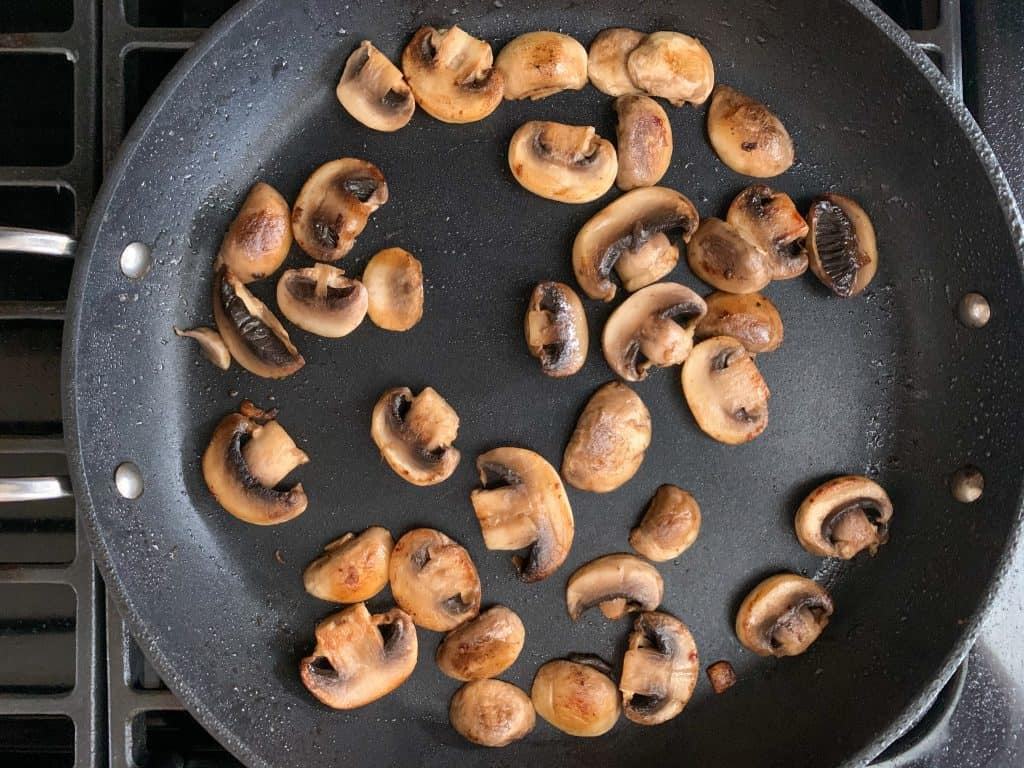 browned mushrooms in a saute pan