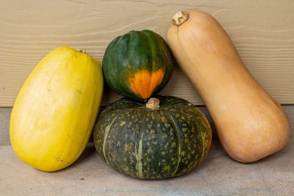 winter squash stacked on top of each other with a tan background