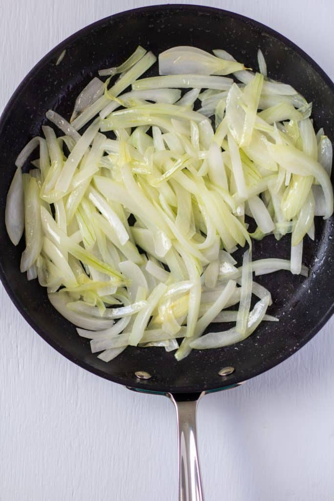 sweating onions in a pan